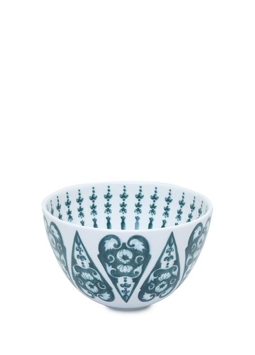Beyaz Mavi Çini Desenli Porselen Kase