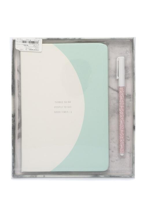 Beyaz Yeşil Yazı Baskılı Kalemli Not Defteri