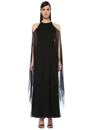 5cac6948d498d Siyah Omzu Açık Maksi Şifon İpek Abiye Elbise