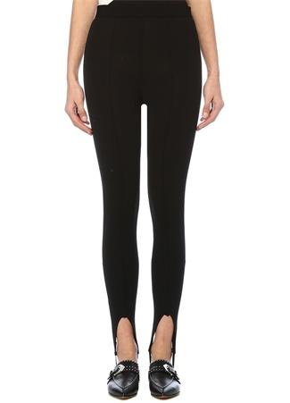 Siyah Yüksek Bel Paçası Lastik Detaylı Pantolon
