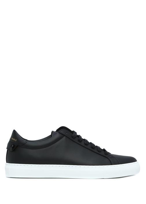 Siyah Logolu Kadın Deri Sneaker