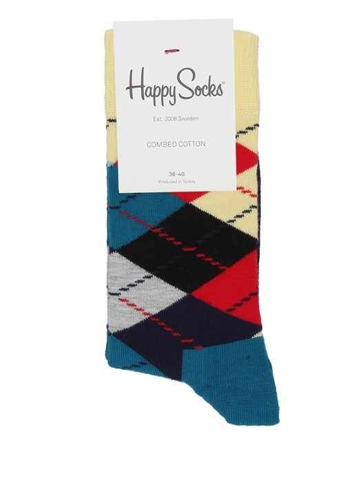 Colourblocked Baklava Desenli Kadın Çorap
