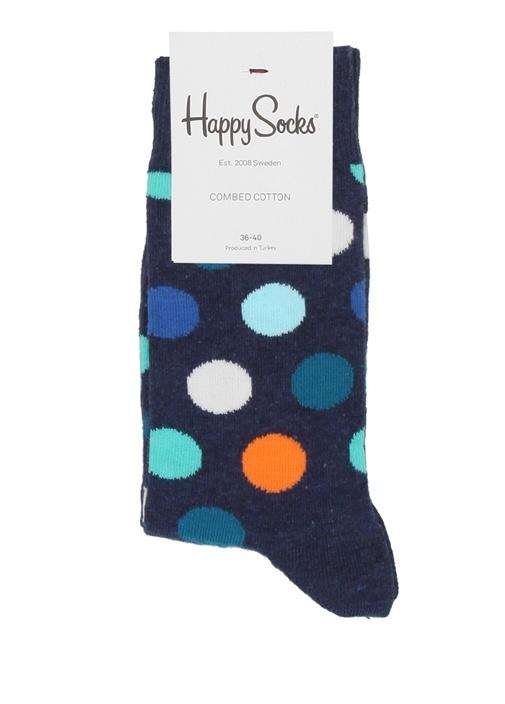 Lacivert Puantiye Desenli Kadın Çorap