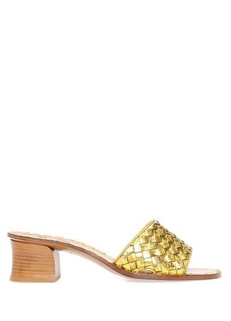 Bottega Veneta Kadın Gold Örgü Dokulu Deri Terlik Altın Rengi 40 EU