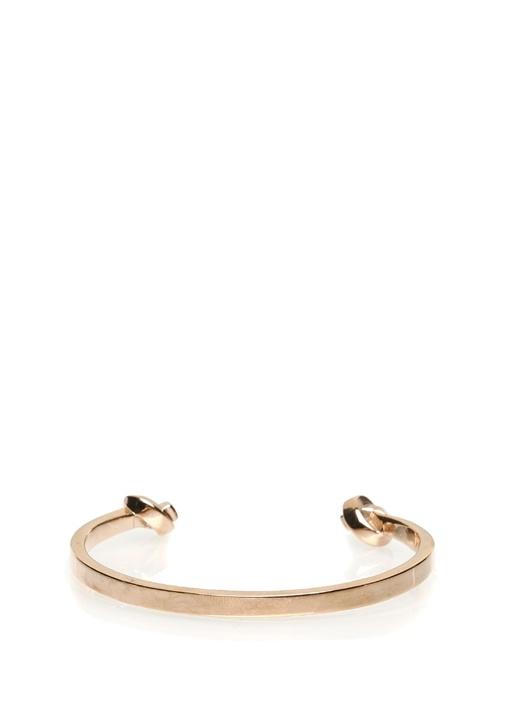 Gold Düğüm Detaylı Kelepçe Formlu ErkekBilezik