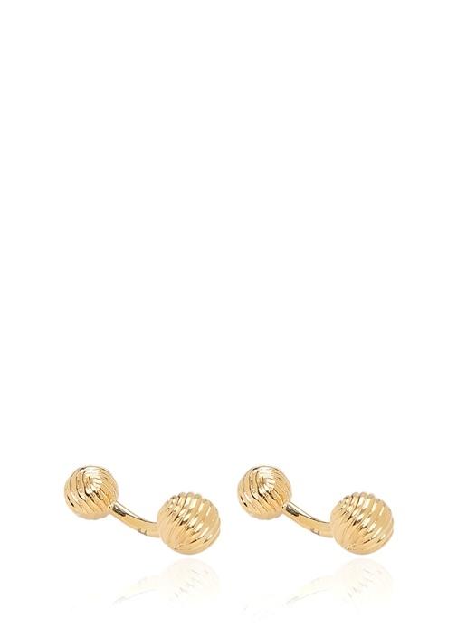 Gold Yuvarlak Formlu Bakır Kol Düğmesi