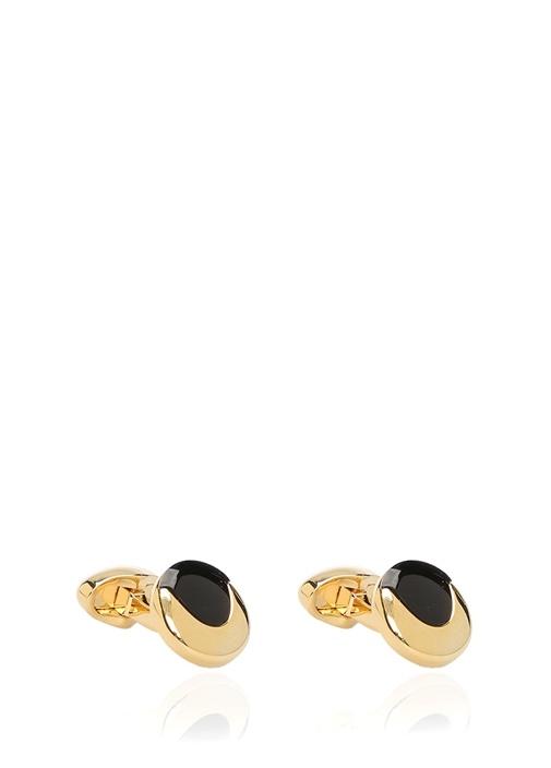 Siyah Gold Yuvarlak Formlu Kol Düğmesi