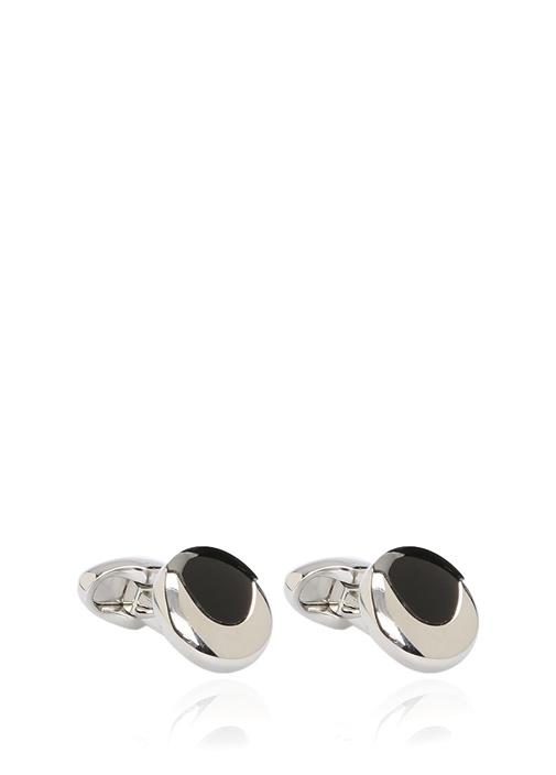Siyah Silver Yuvarlak Formlu Kol Düğmesi