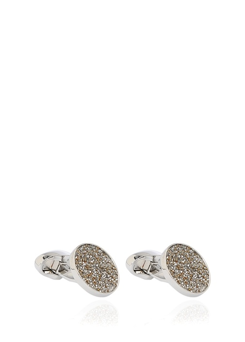 Yuvarlak Taşlı Silver Kol Düğmesi