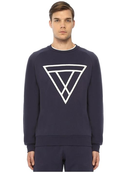Lacivert Logo Nakışlı Sweatshirt