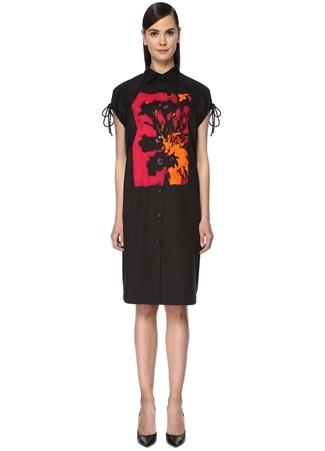 Kadın Dantia Siyah Kolu Büzgülü Midi Gömlek Elbise 40 FR