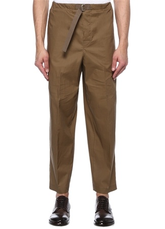 Kahverengi Beli Kordonlu Dar Paça Pantolon