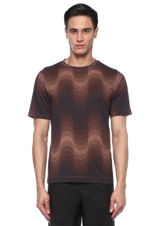 Kahverengi Dalga Desenli Degradeli T-shirt
