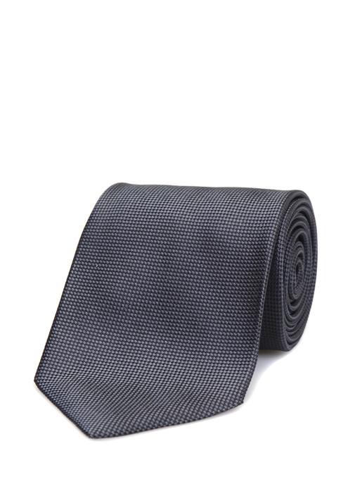 Siyah Mikro Desenli İpek Kravat