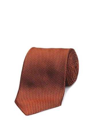 Erkek Kahverengi Mikro Desenli İpek Kravat EU
