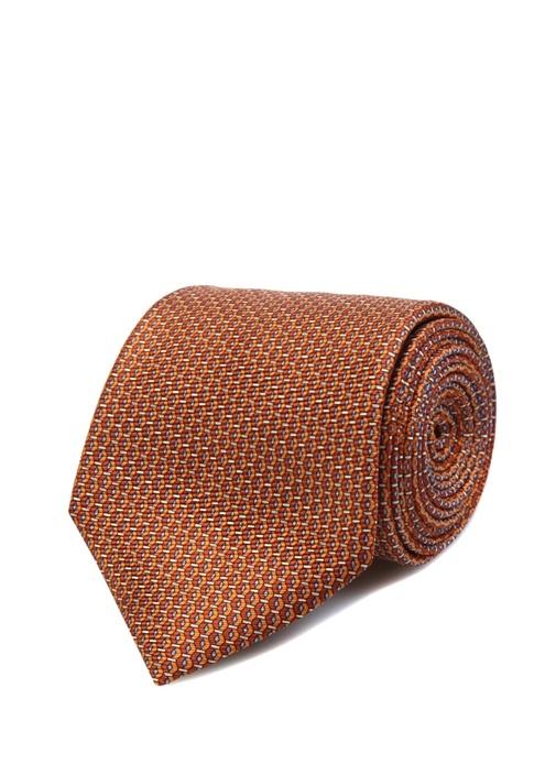 Turuncu Dokulu Erkek İpek Kravat