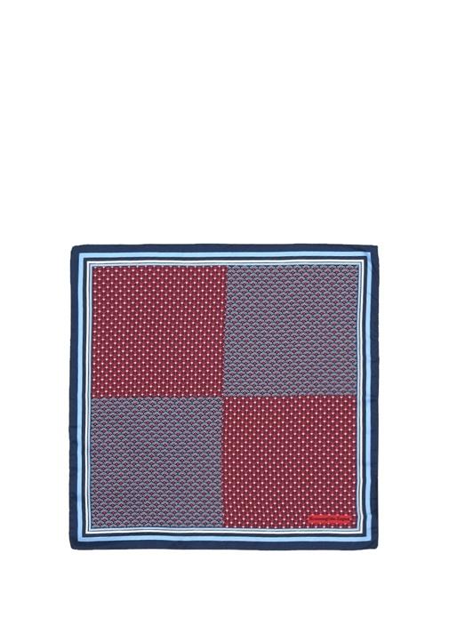 Bordo Mavi Mikro Desenli Erkek İpek Poşet Mendil