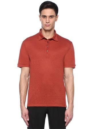 Turuncu Polo Yaka Keten T-shirt