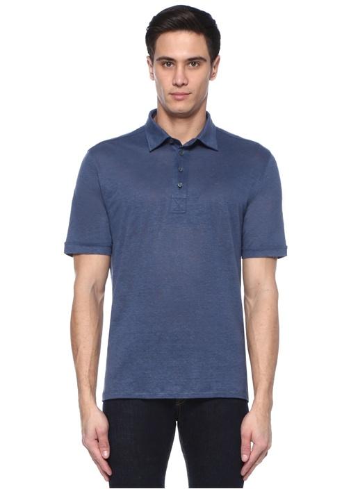 Mavi Polo Yaka Keten T-shirt