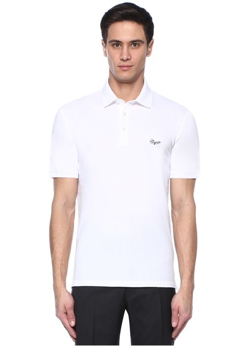 Beyaz Logo Nakışlı Polo Yaka T-shirt