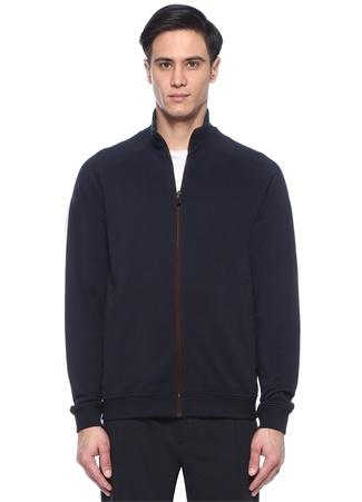 Lacivert Dik Yaka Biye Detaylı Sweatshirt