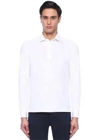 Erkek Beyaz Pike Dokulu Polo Yaka Sweatshirt XL EU