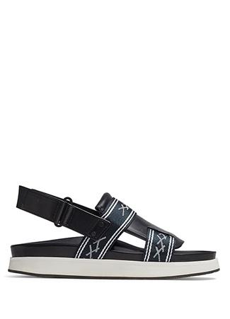 Erkek Siyah Çift Bantlı Logolu Deri Sandalet 11 UK