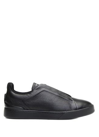 Zegna Erkek Siyah Dokulu Deri Sneaker UK male 11