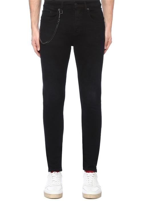 Skinny Fit Siyah Zincirli Jean Pantolon