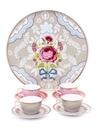 Pembe ve Haki 5 Parça Kahve Fincanı Seti