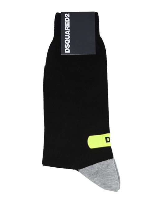 Lacivert Gri Logo Baskılı Erkek Çorap