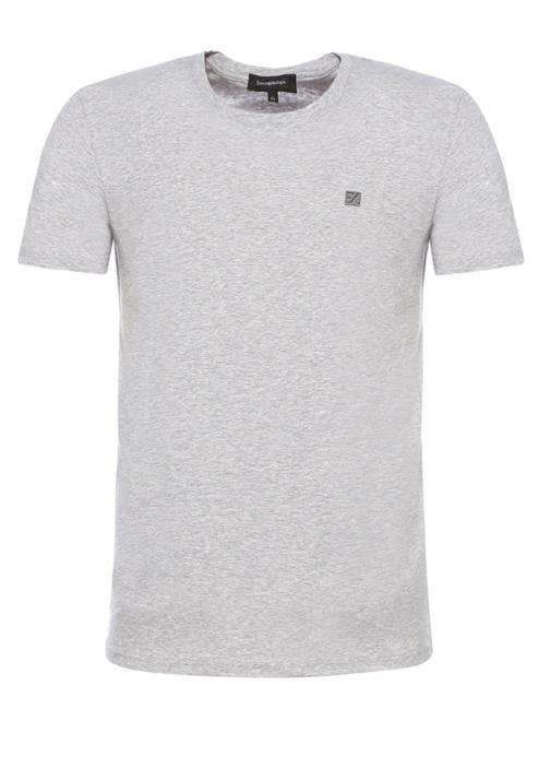 Gri Melanj Bisiklet Yaka Basic T-shirt