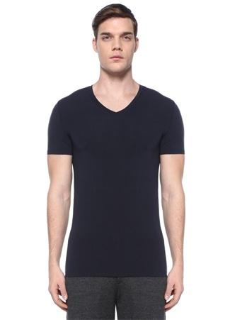 Ermenegildo Zegna Erkek Lacivert V Yaka Basic -shirt Mavi XXL Ürün Resmi