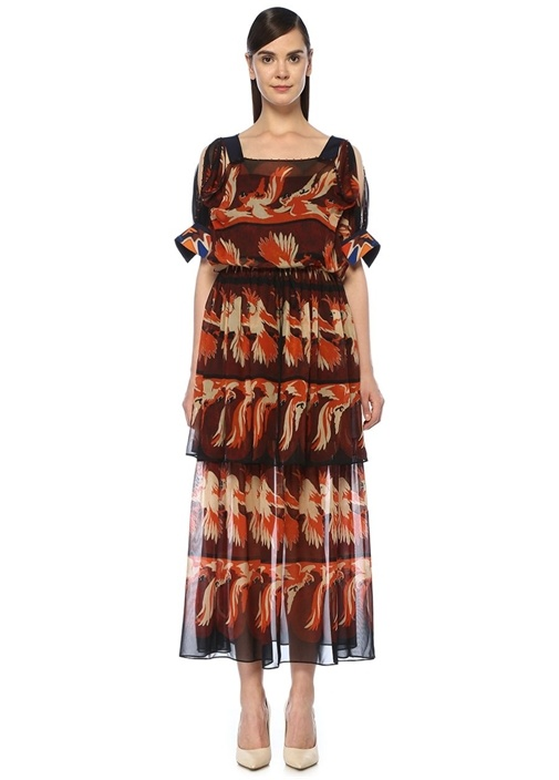 Kayık Yaka Desenli Kısa Kol Maksi İpek Elbise