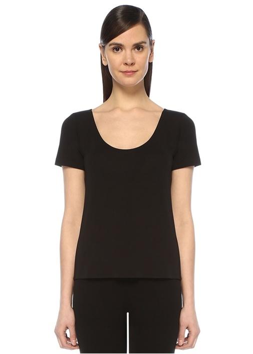 Siyah U Yaka Dikişsiz T-shirt