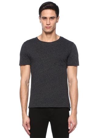 Antrasit Bisiklet Yaka Cepli Basic T-shirt