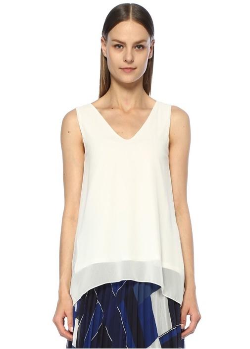 Beyaz V Yaka Mendil Formlu Şifon T-shirt
