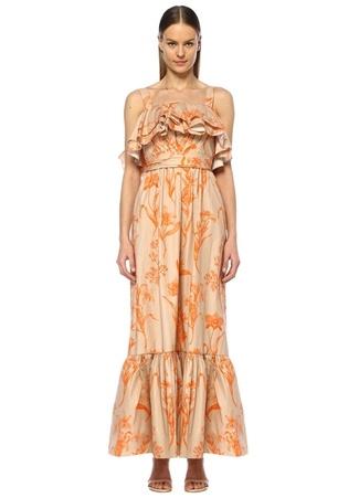 Kadın Kamel Turuncu Desenli Fırfır Detaylı Maxi Elbise Kahverengi 0 US