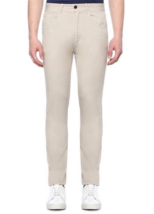 Slim Fit Bej Kanvas Spor Pantolon