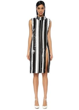 Halpern Kadın Siyah Beyaz Dik Yaka İşlemeli Çizgili Midi Elbise 34 FR