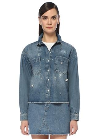 İngiliz Yaka Yıpratmalı Taş Detaylı Jean Ceket