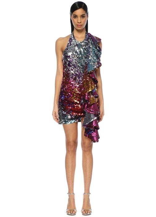 Halter Yaka İşlemeli Drapeli Mini Abiye Elbise