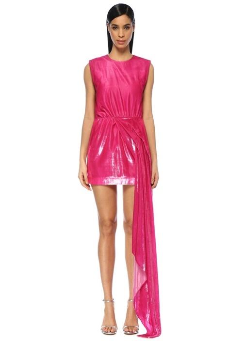 Metalik Pembe Asimetrik Drapeli Abiye Elbise
