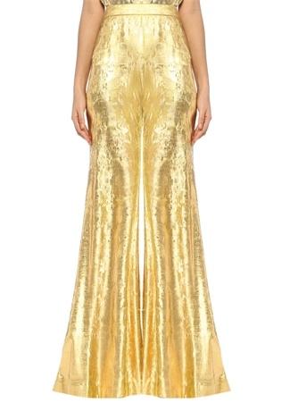 Halpern Kadın Gold Yüksek Bel İspanyol Paça Dokulu Pantolon Altın Rengi 36 FR