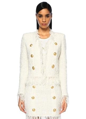 Balmain Kadın Ekru Simli Gold Düğmeli Püsküllü Tweed Ceket Bej 40 FR