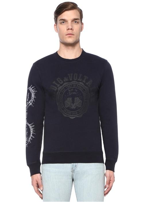 Evan Ross Lacivert Logo Baskılı NakışlıSweatshirt