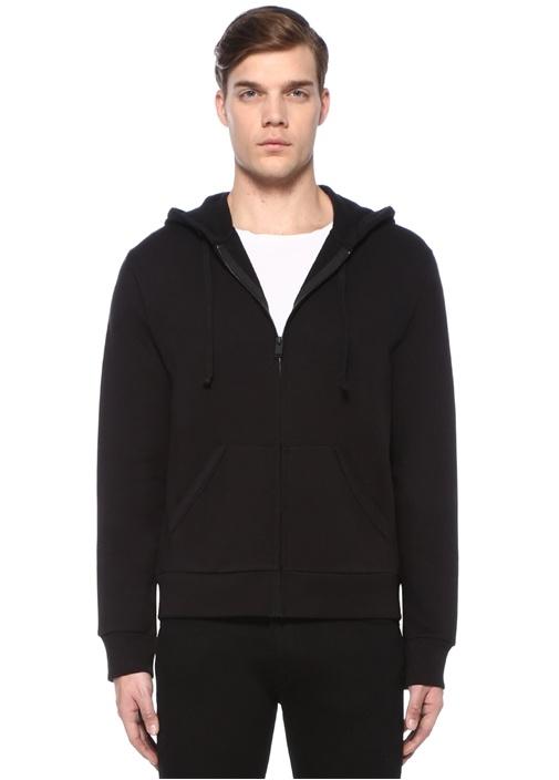 Moss Siyah Kapüşonlu Arkası Nakışlı Sweatshirt