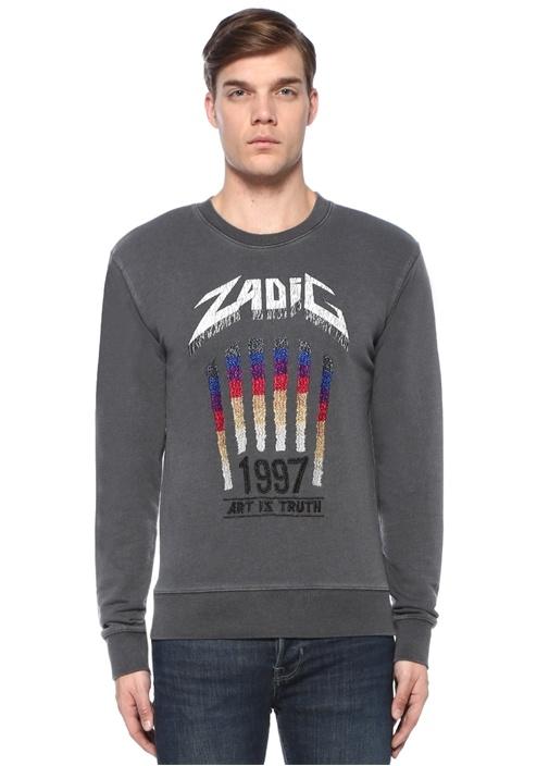Antrasit Logo Baskılı Nakış Detaylı Sweatshirt
