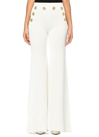 Balmain Kadın Beyaz Yüksek Bel Gold Düğmeli Bol Paça Pantolon 38 FR