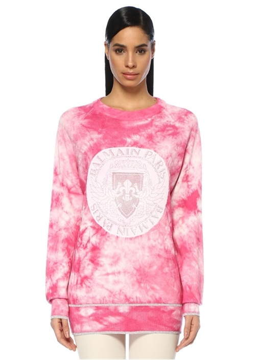 Pembe Batik Desenli Logolu Yün Sweatshirt